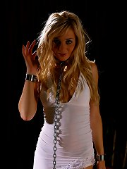 Cute angel in white dress in Metal Bondage